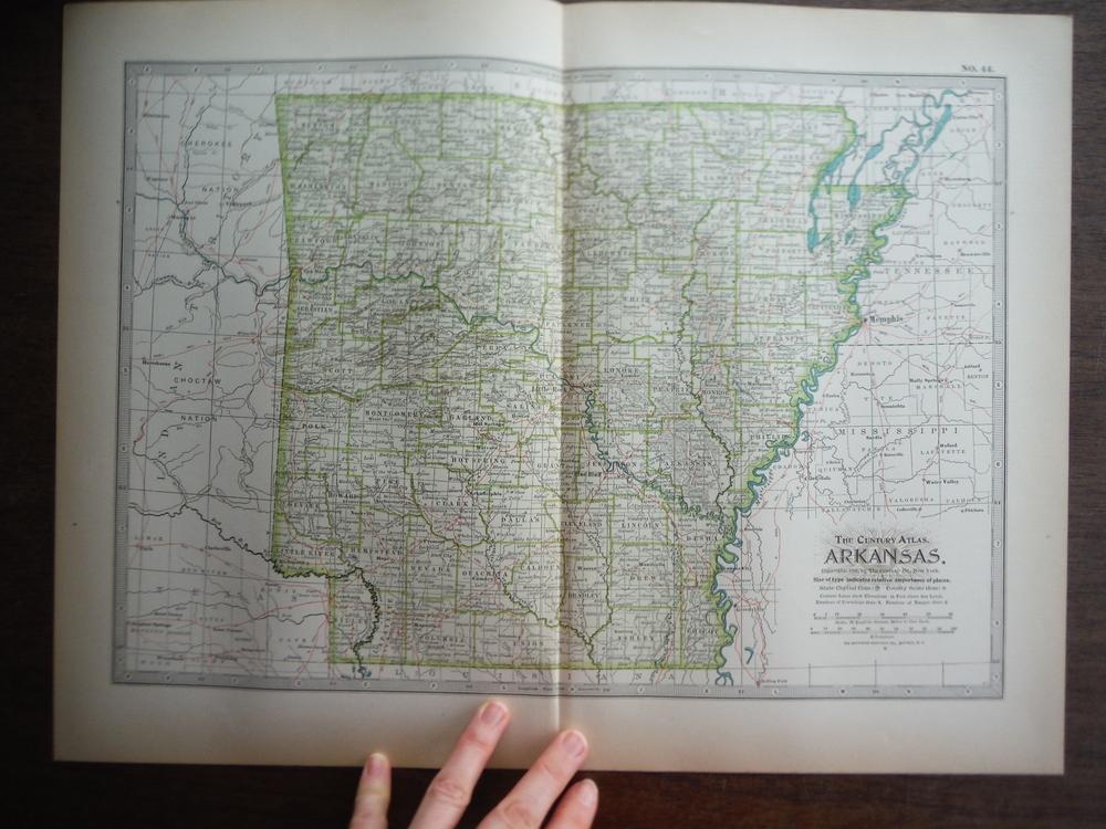 The Century Atlas  Map of Arkansas (1897)