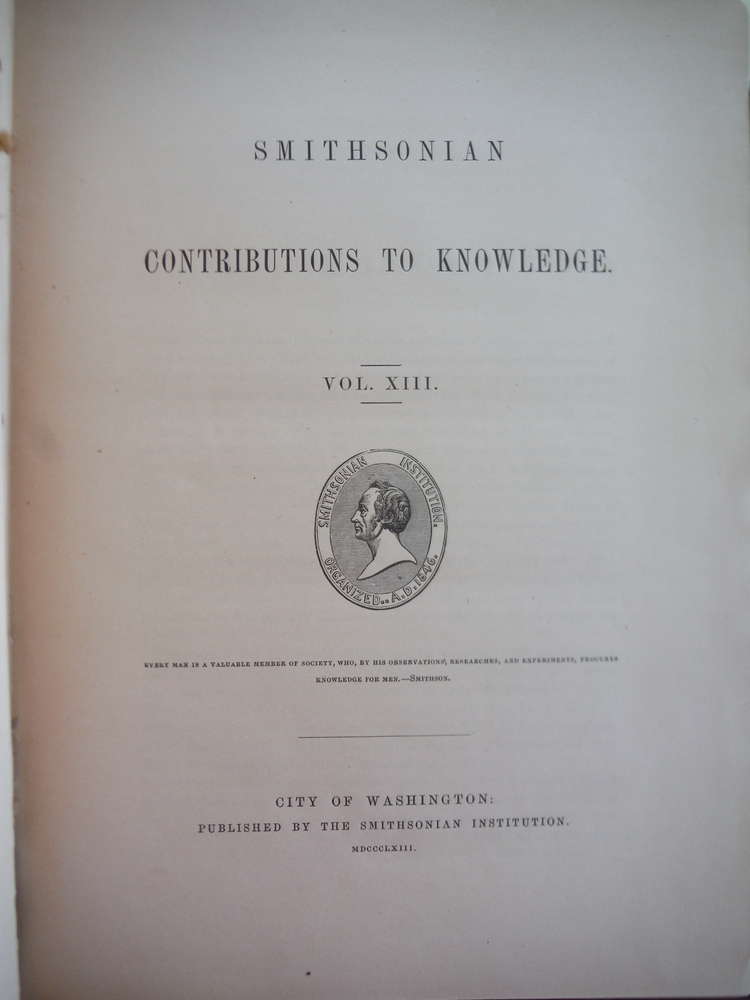 Image 1 of Smithsonian Contributions to Knowledge Vol. XIII (1863))