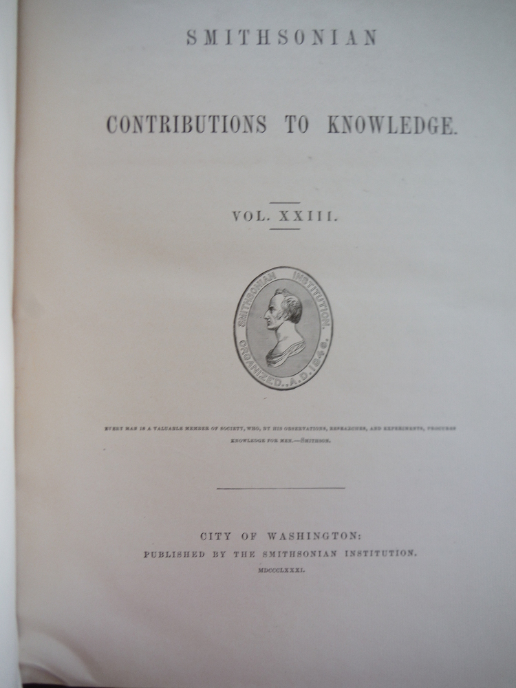 Image 1 of Smithsonian Contributions to Knowledge. Vol. XXIII  (1881)