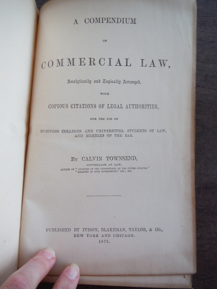 Image 1 of A Compendium of Commercial Law, Analytically & Topically arranged, with Copious