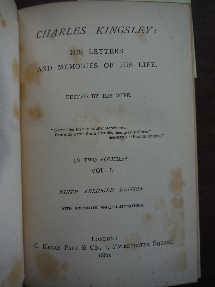 Image 1 of CHARLES KINGSLEY: HIS LETTERS AND MEMORIES OF HIS LIFE: VOLS. I - II.
