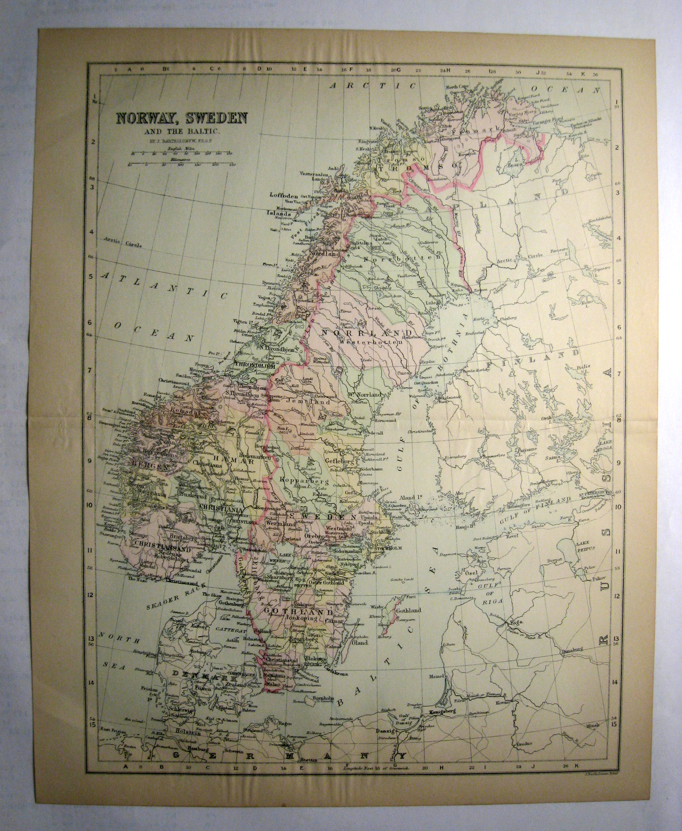 Johnson's  Map of Norway, Sweden and the Baltic  -  Original (1897)