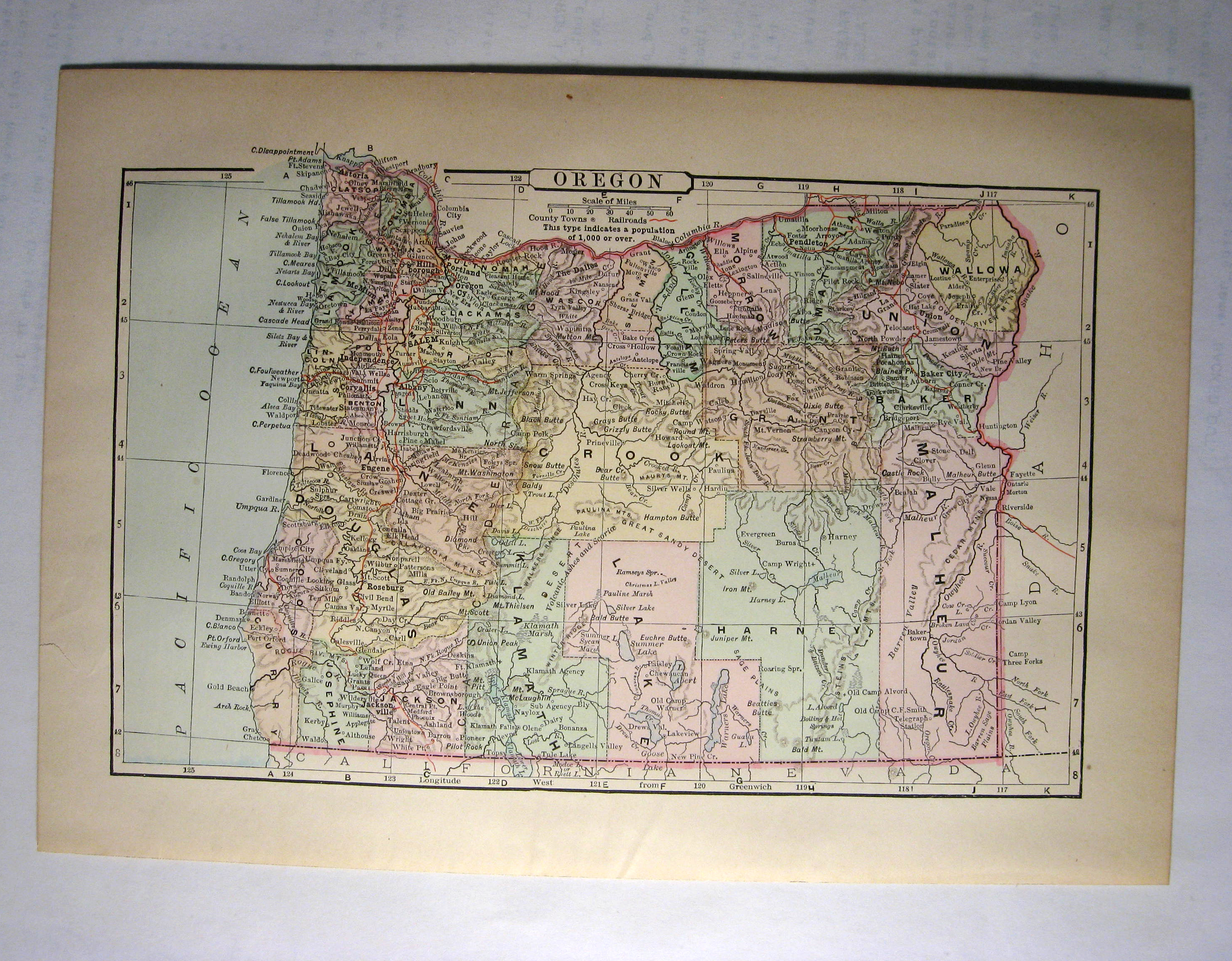 Johnson's  Map of Oregon -  Original (1897)