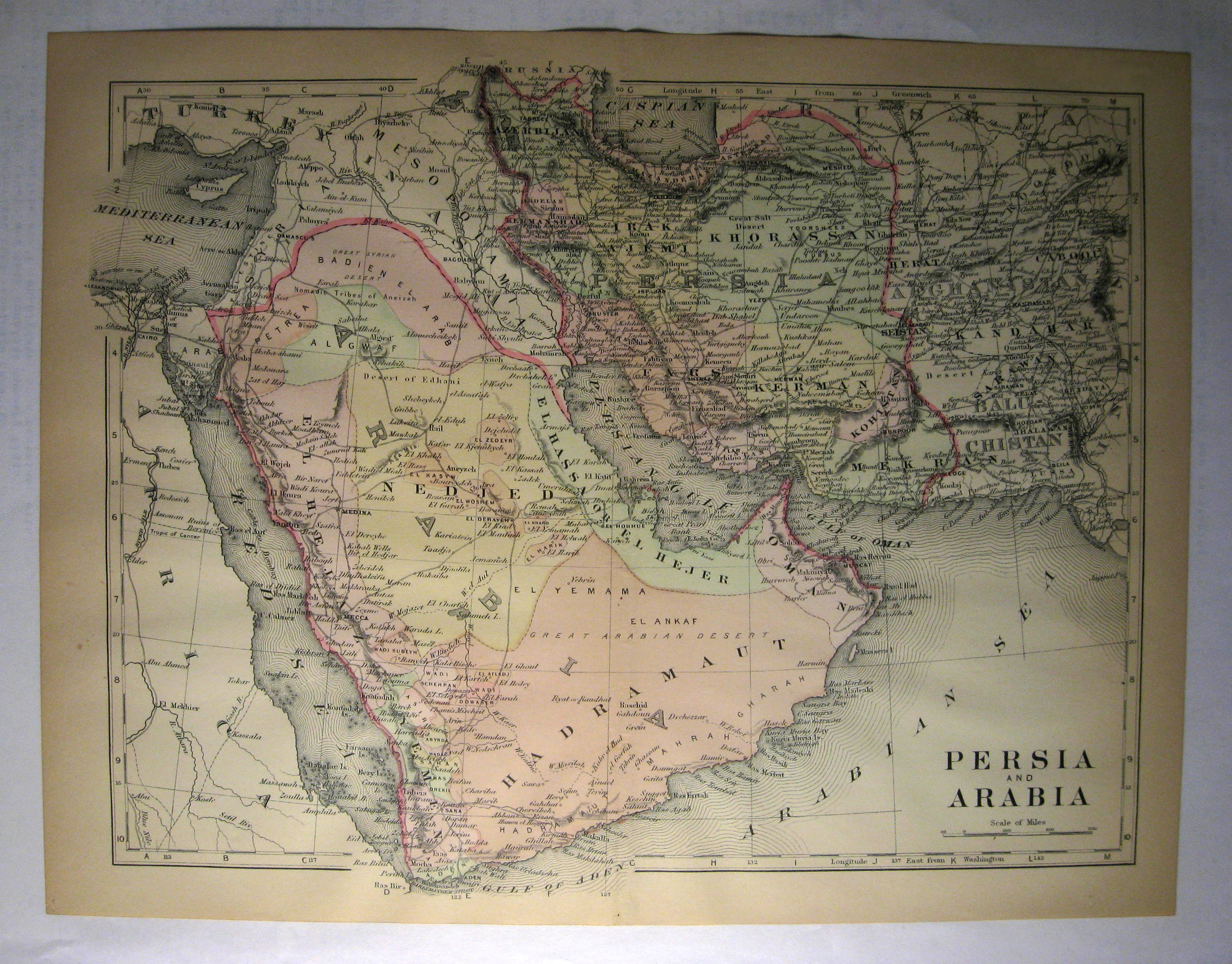 Johnson's  Map of Persia and Arabia -  Original (1897)