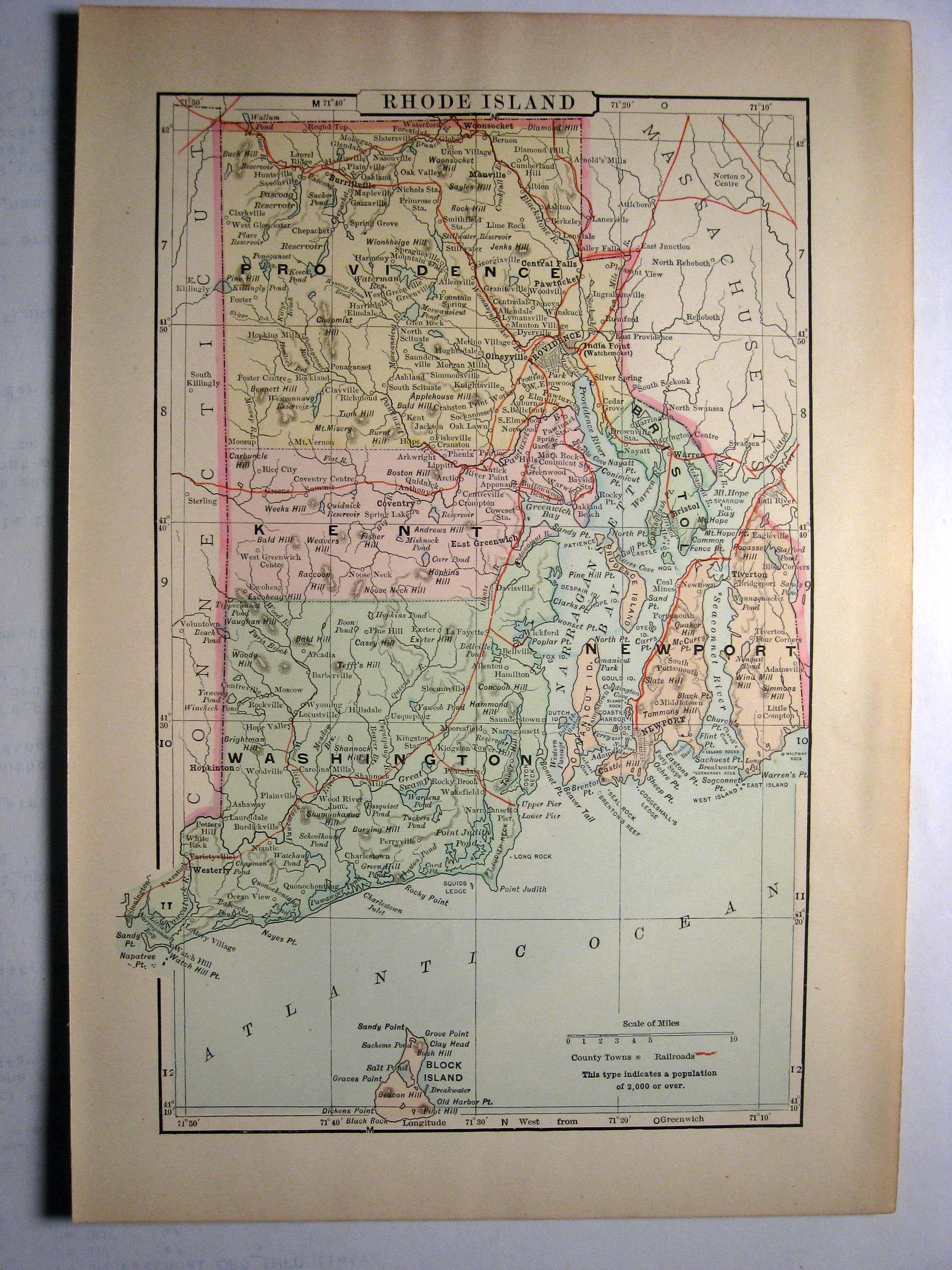 Johnson's  Map of Rhode Island -  Original (1897)