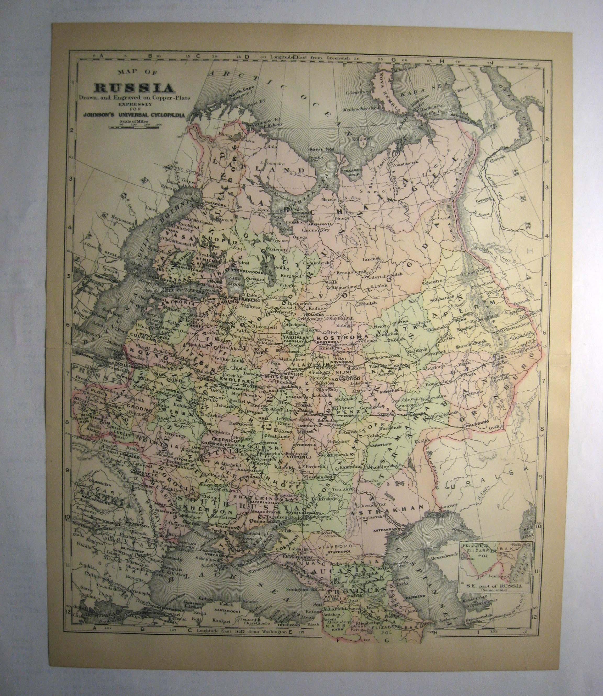 Johnson's  Map of Russia -  Original (1897)