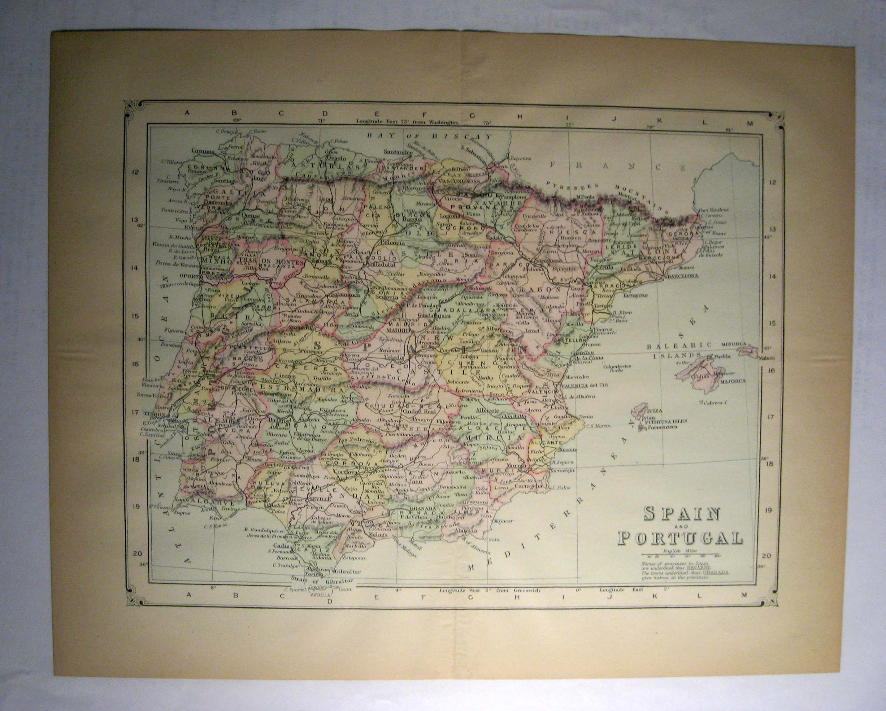 Johnson's  Map of Spain and Portugal -  Original (1897)