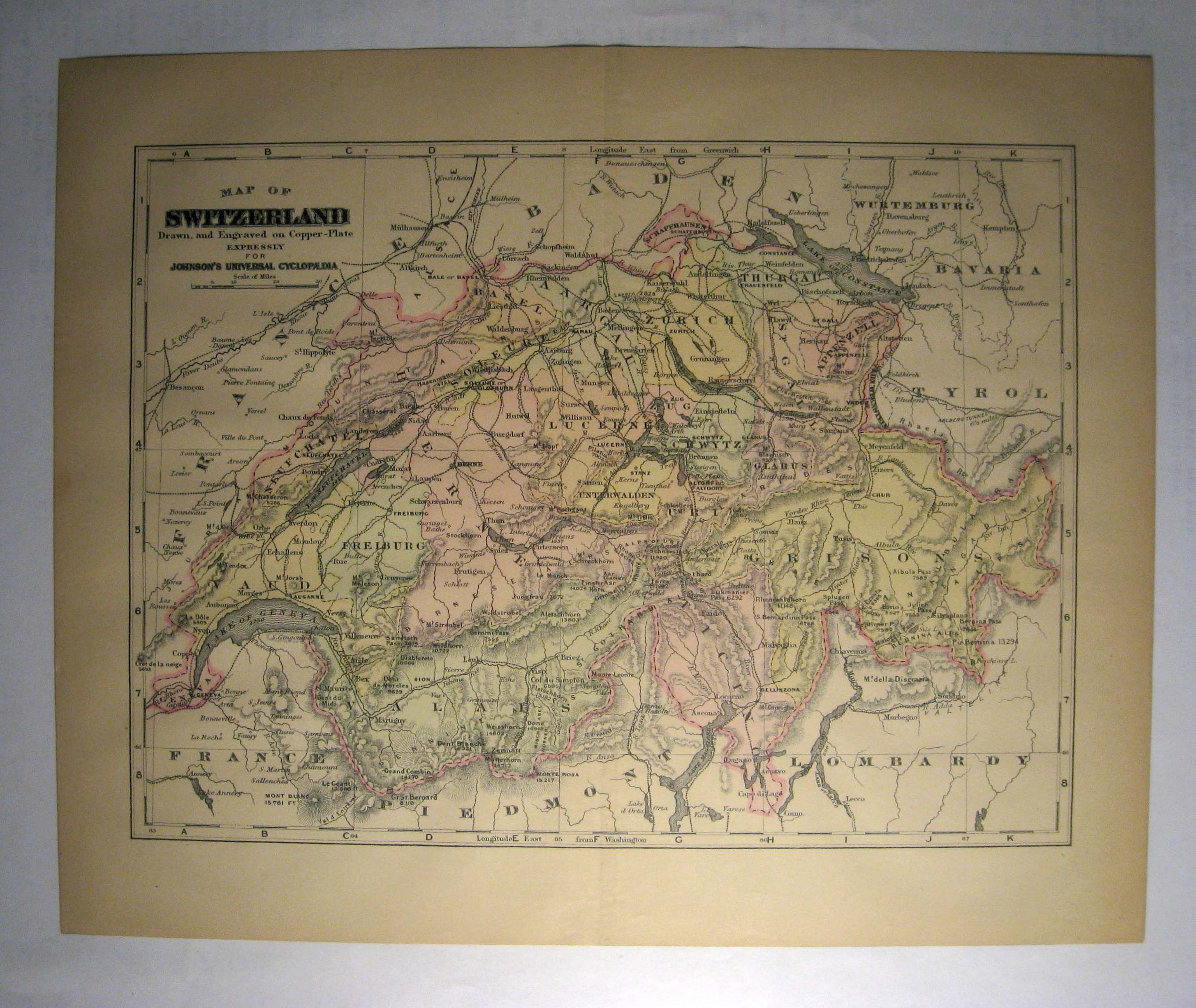 Johnson's  Map of Switzerland -  Original (1897)