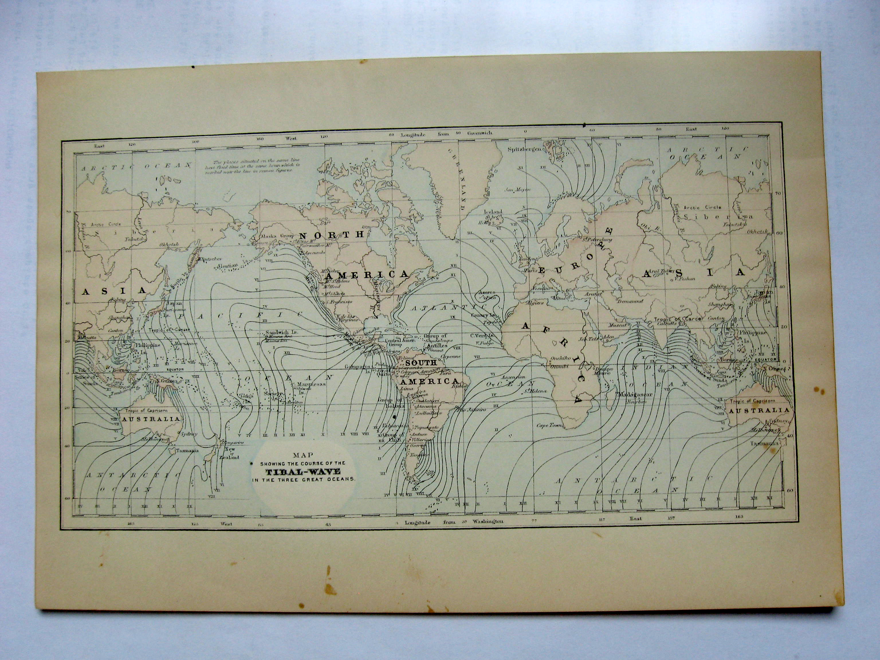 Johnson's  Map of the World Showing the Course of the Tidal Wave on Three Great
