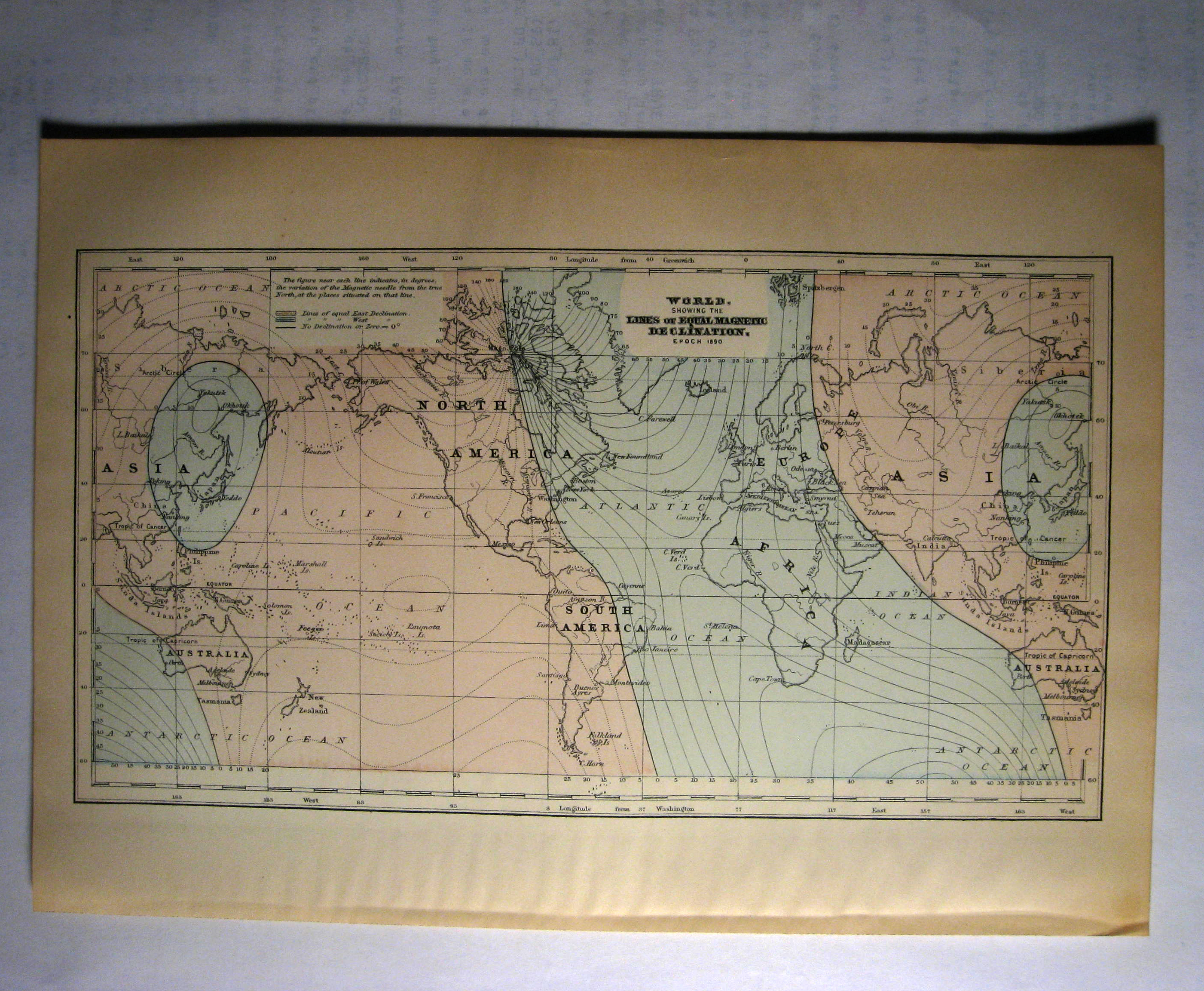 Johnson's  Map of the World Showing the Lines of Equal Magnetic Declination  - O