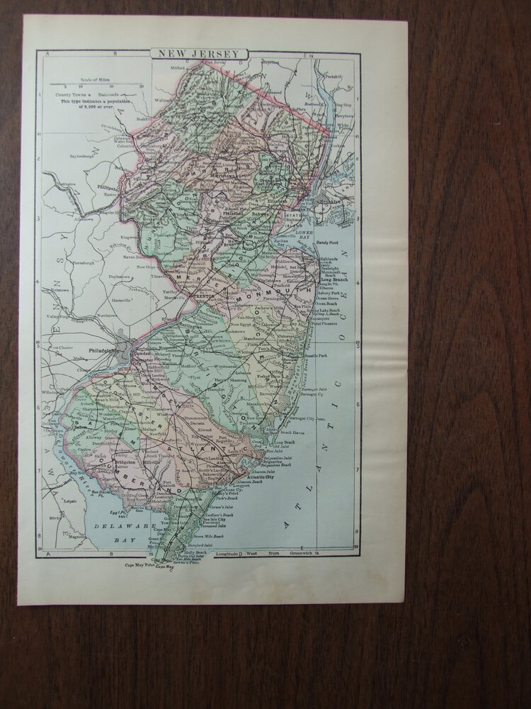 Johnson's  Map of New Jersey -  Original (1895)