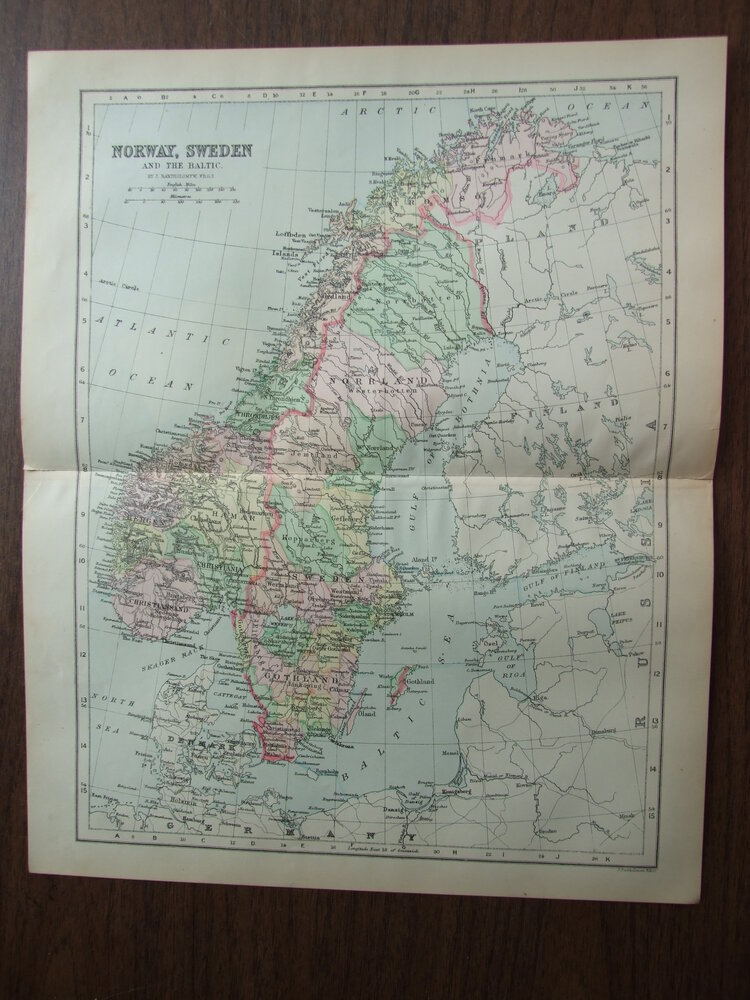 Johnson's  Map of Norway, Sweden and the Baltic -  Original (1895)
