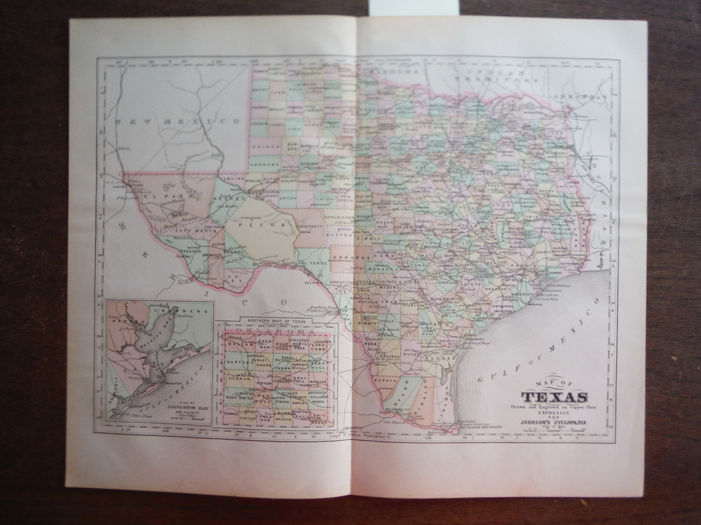 Johnson's  Map of Texas -  Original (1895)