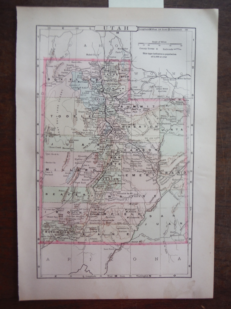 Johnson's  Map of Utah -  Original (1895)