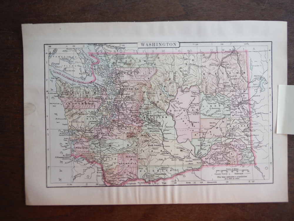 Johnson's  Map of Washington (State)  -  Original (1895)