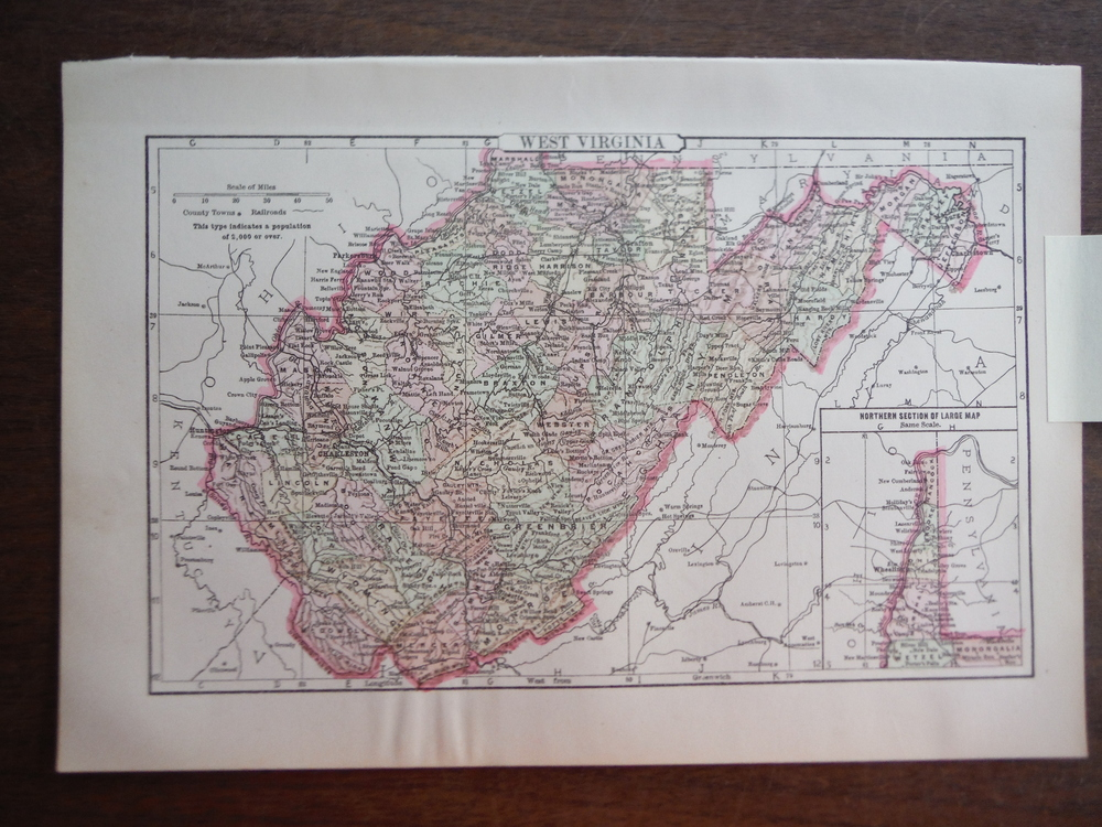 Johnson's  Map of West Virginia -  Original (1895)