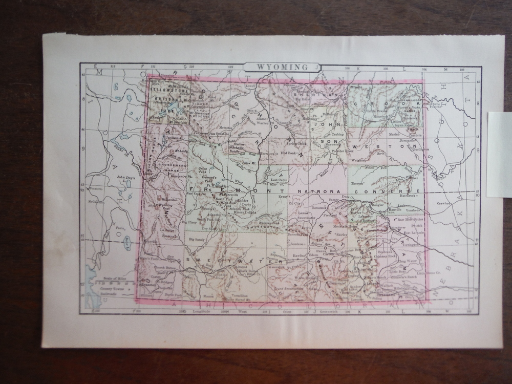 Johnson's  Map of Wyoming -  Original (1895)