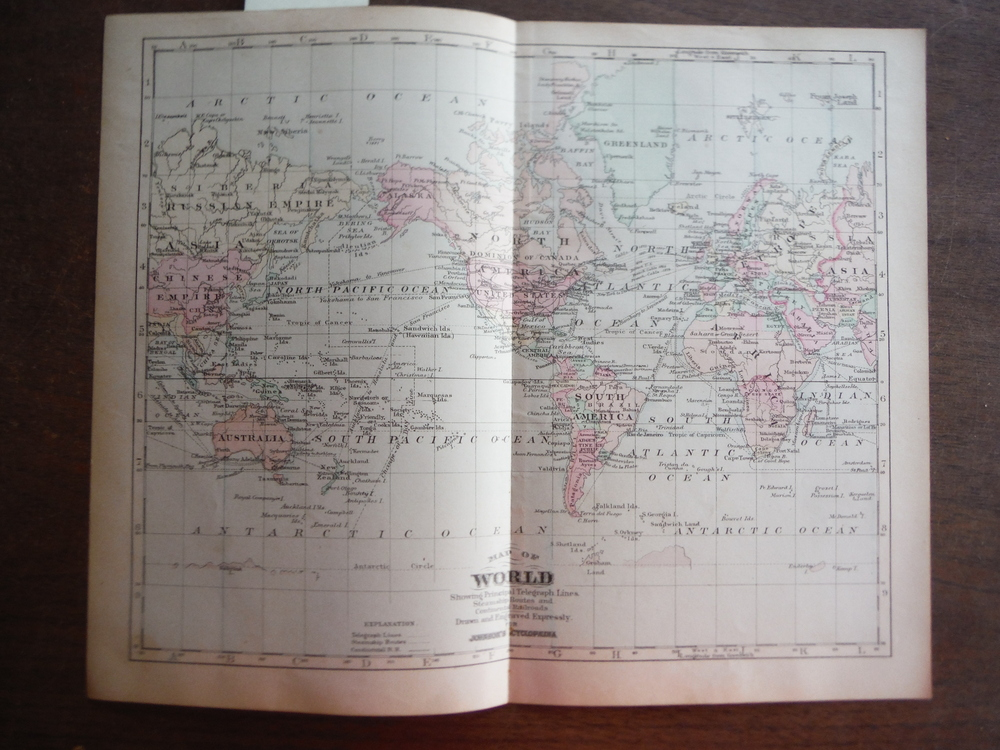 Johnson's  Map of the World Showing Principal Telegraph Lines, Steamship Routes