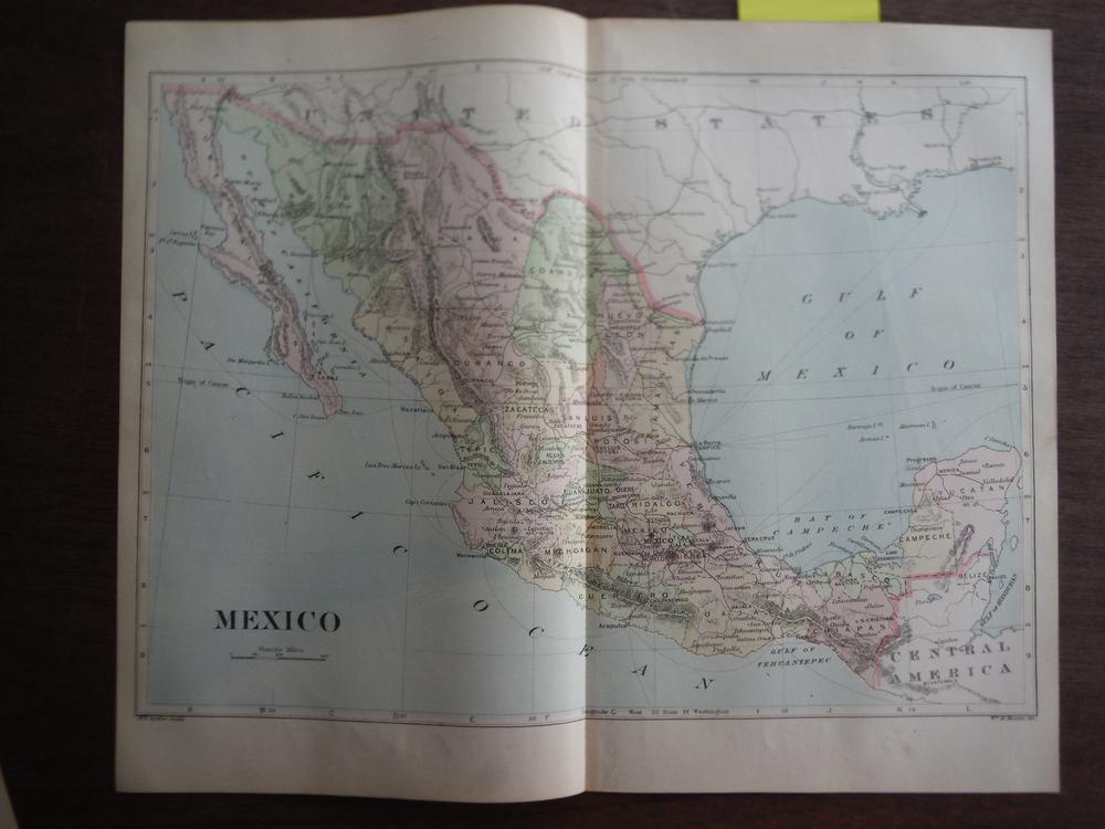 Johnson's  Map of Mexico-  Original (1895)