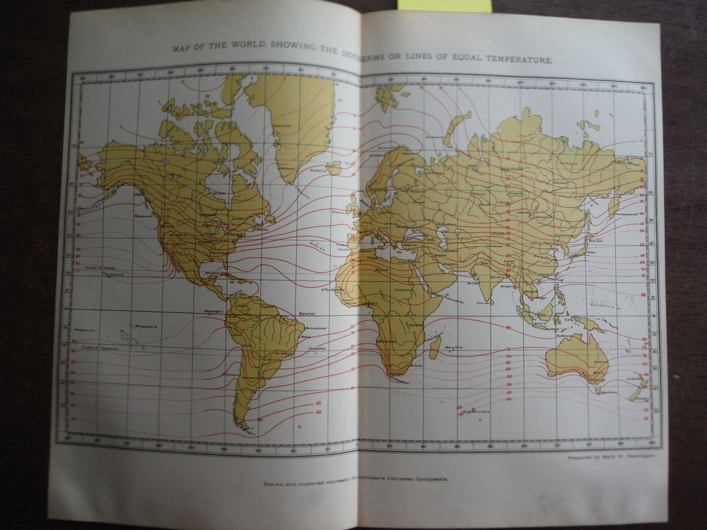 Johnson's Map of World Showing the Isotherms or Lines of Equal Temperature,  -