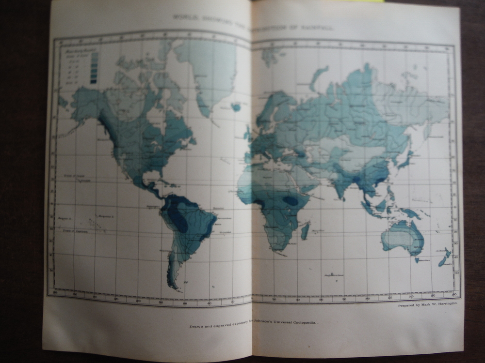 Johnson's Map of World Showing the Distribution of Rainfall,  -  Original (1895)
