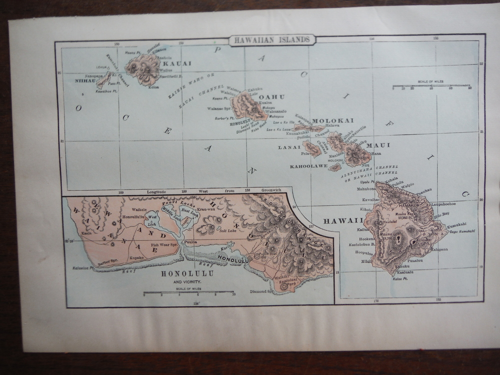 Johnson's  Map of the Hawaiian Islands -  Original (1895)