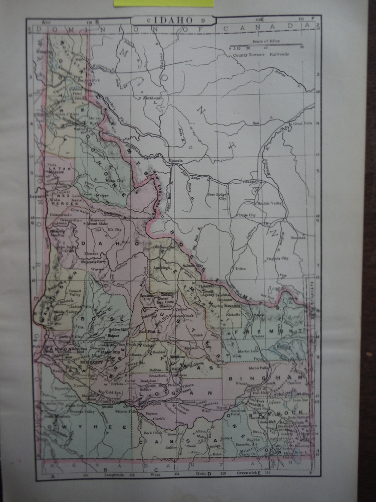 Johnson's  Map of Idaho -  Original (1895)