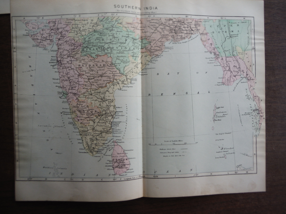 Johnson's  Map of Southern  India -  Original (1895)