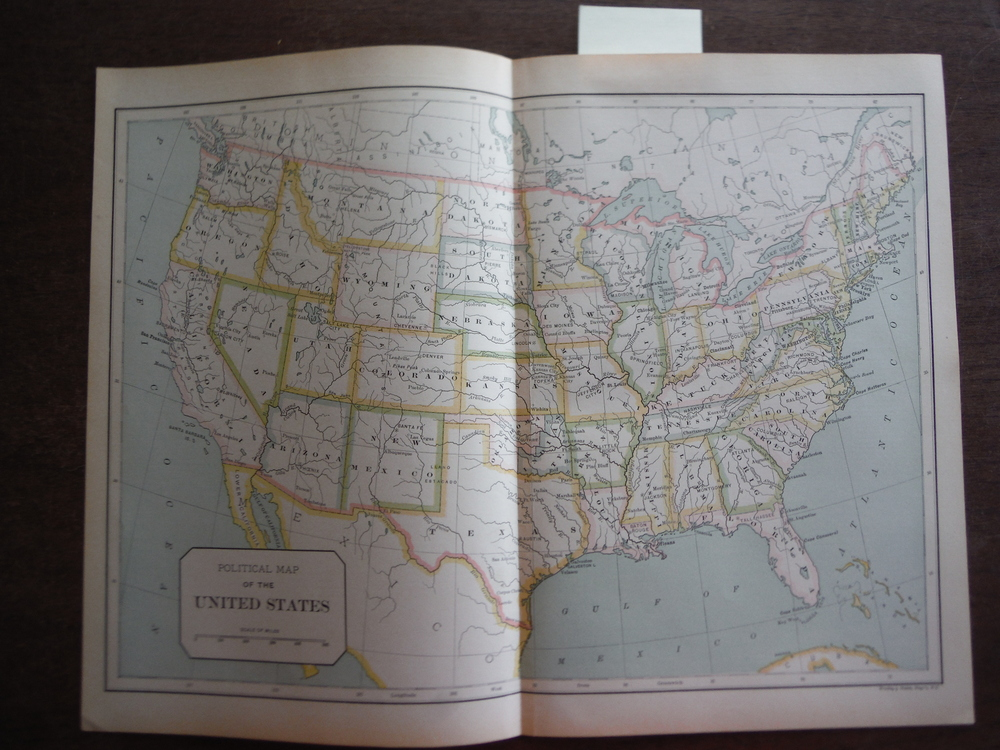 Universal Cyclopaedia and Atlas Political Map of the United States-  Original (1