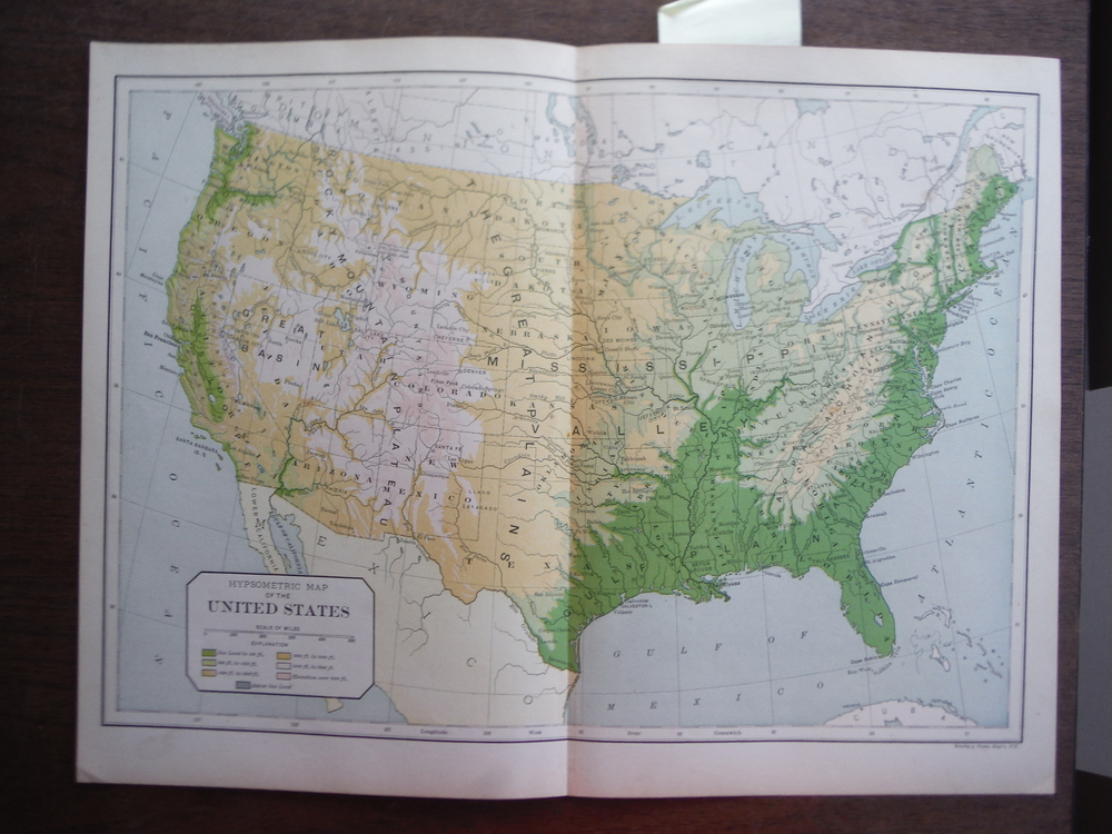 Universal Cyclopaedia and Atlas Hypsometric  Map of the United States-  Original