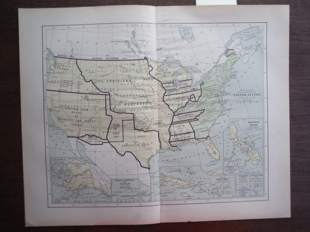 Universal Cyclopaedia and Atlas Map Showing Land Acquired by the United States f