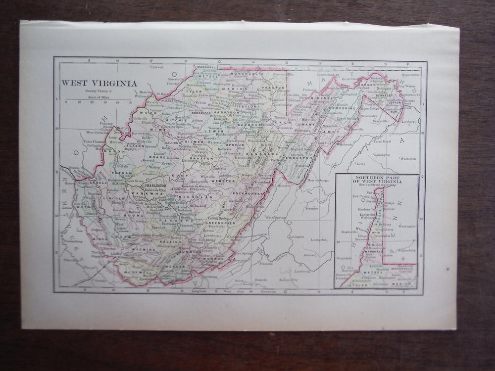 Universal Cyclopaedia and Atlas Map of West  Virginia -   Original (1902)