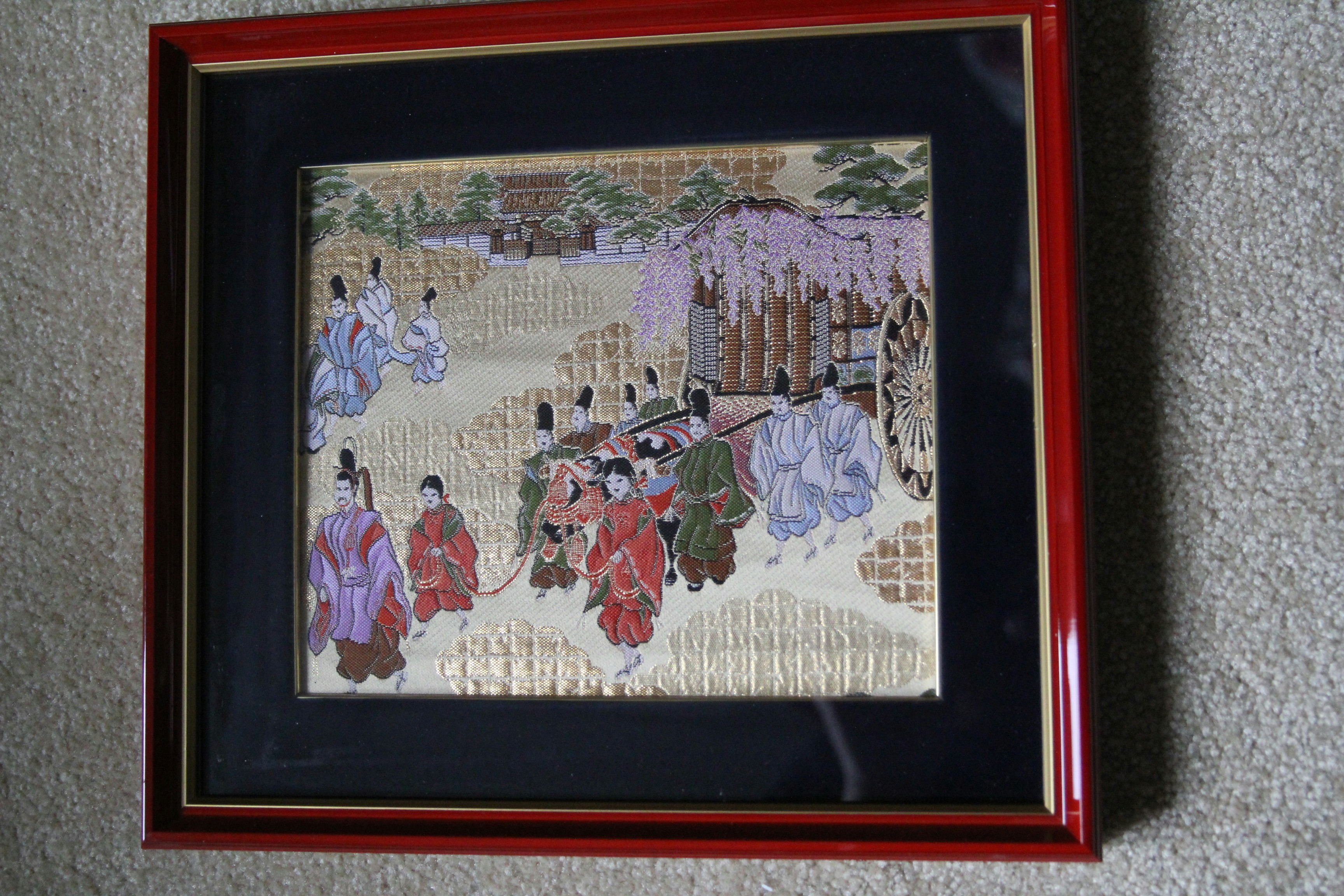 Framed Kyonishiki Tapestry from Nishi-jin, Kyoto, Japan (original), Cart Process