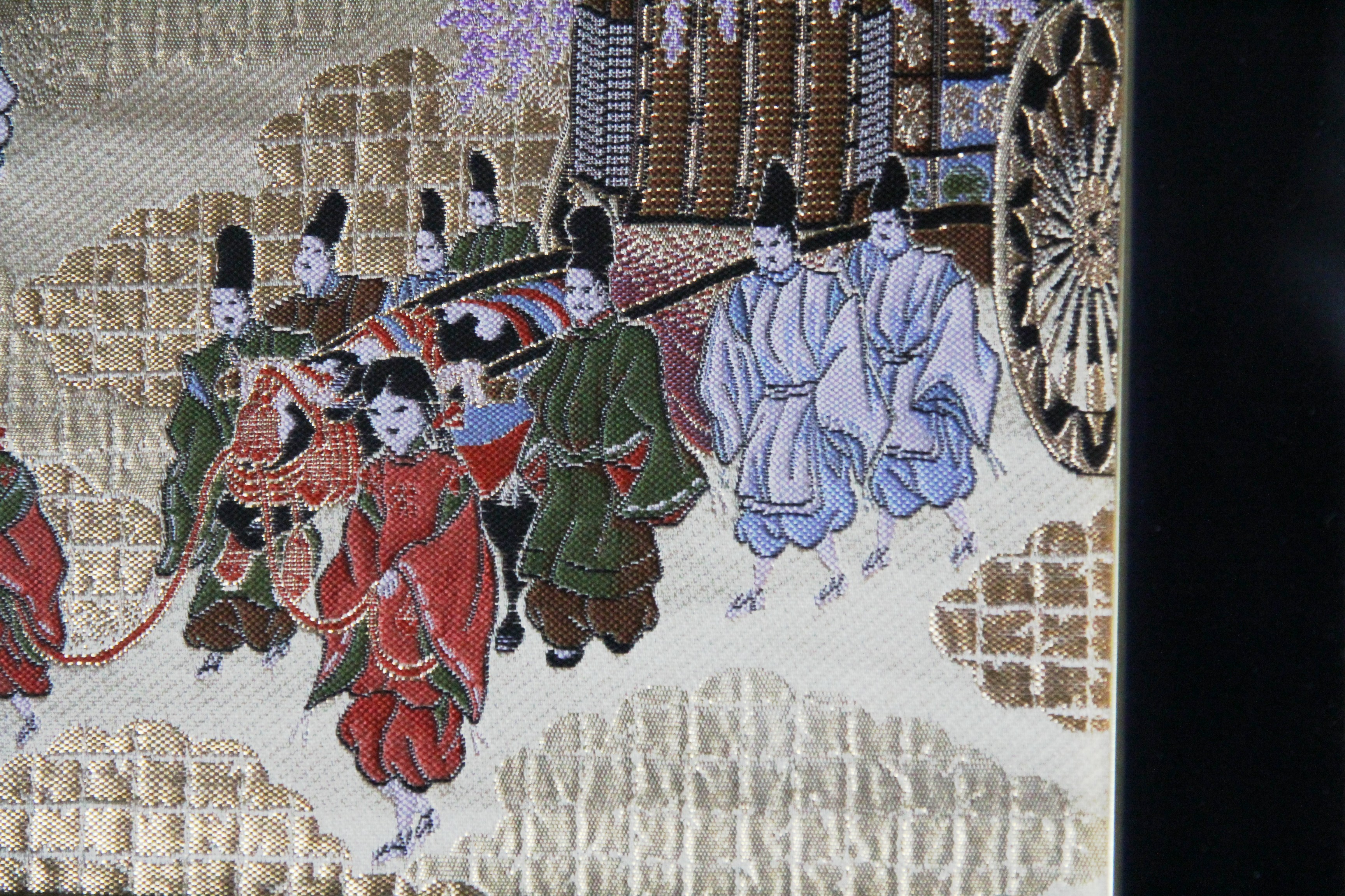 Image 1 of Framed Kyonishiki Tapestry from Nishi-jin, Kyoto, Japan (original), Cart Process