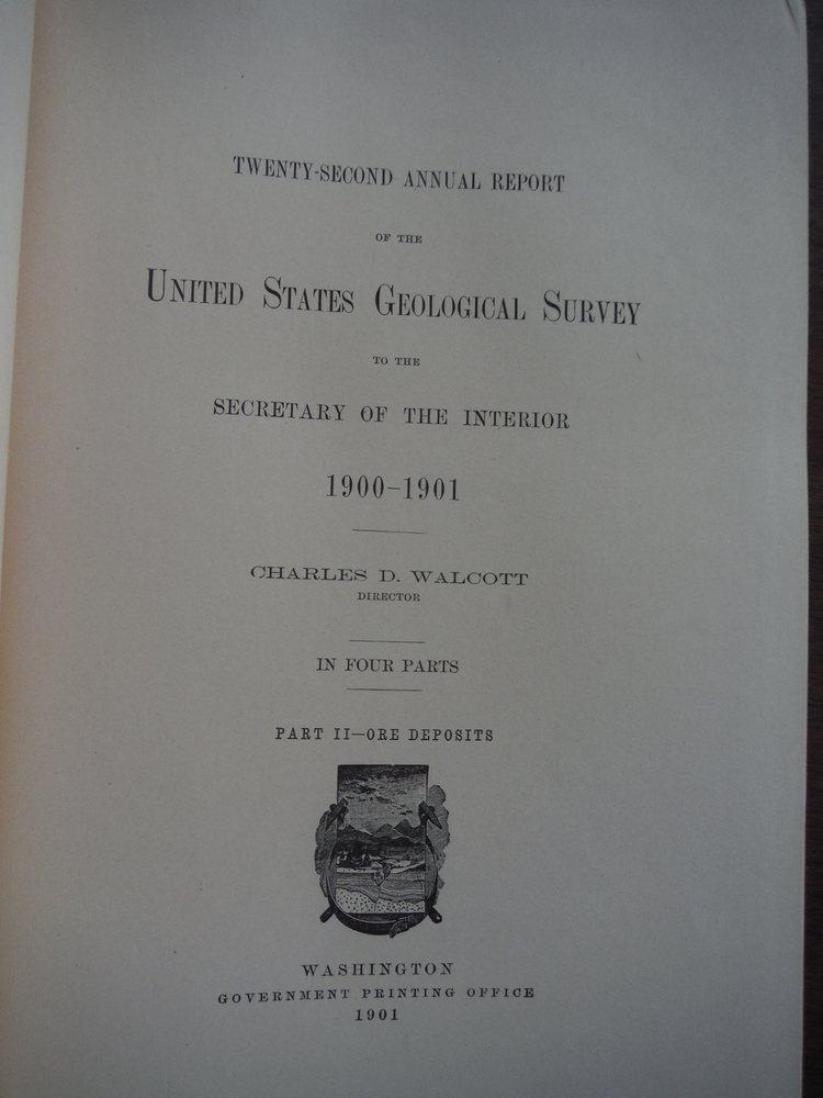 Image 1 of Twenty Second Annual Report of the United States Geological Survey of the Secret