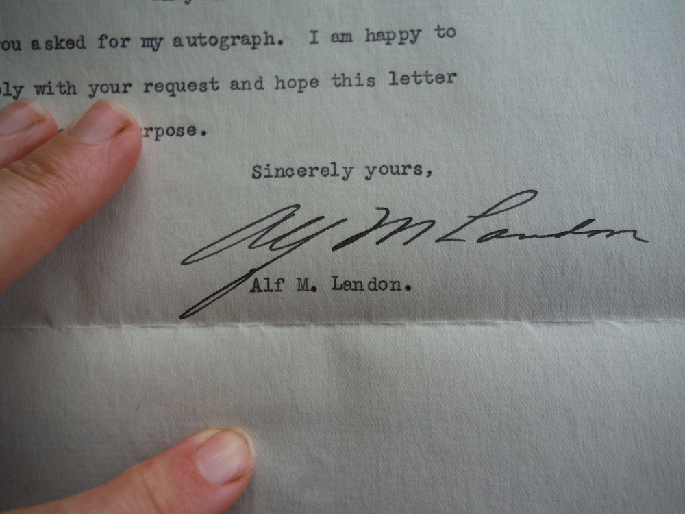 Image 0 of Alf M. Landon (Signed Letter with Envelope) - 1937