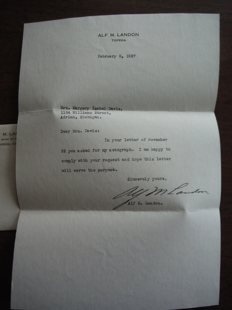 Image 1 of Alf M. Landon (Signed Letter with Envelope) - 1937