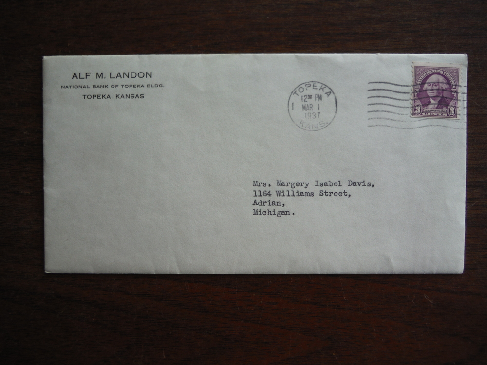 Image 2 of Alf M. Landon (Signed Letter with Envelope) - 1937