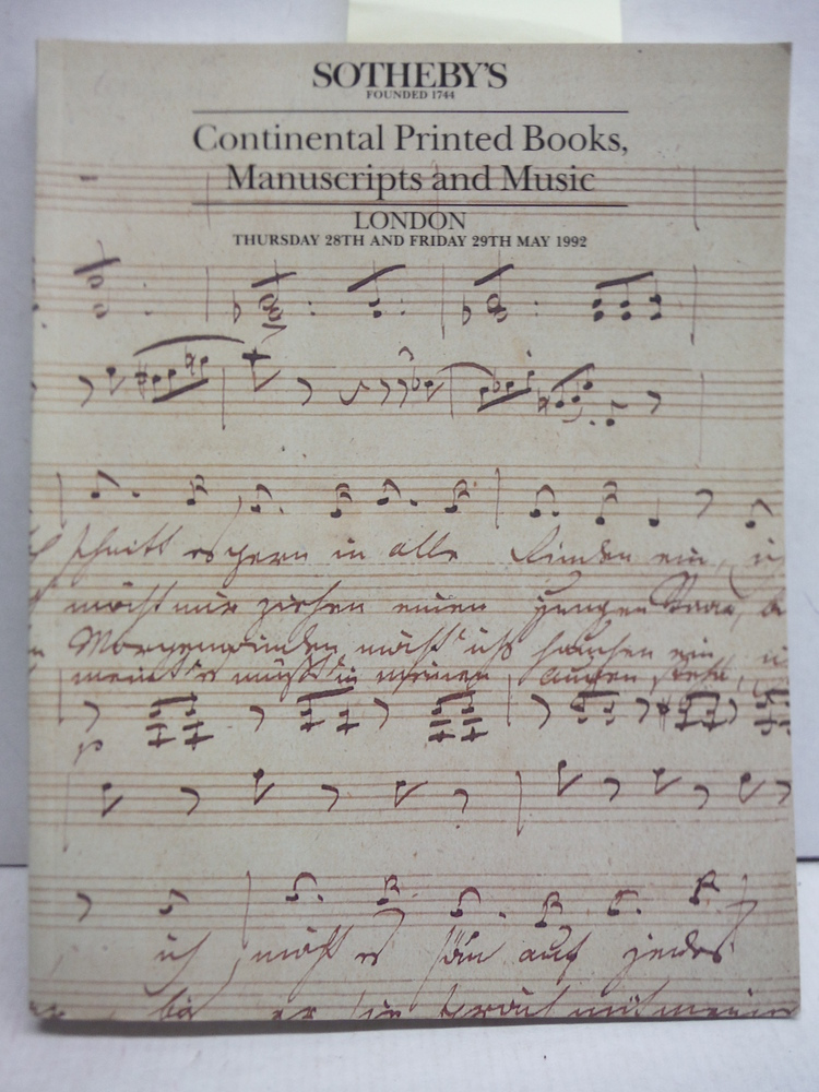Continental Printed Books, Manuscripts and Music