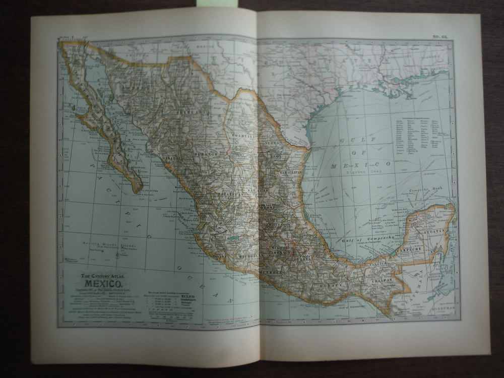 The Century Atlas  Map of Mexico (1897)