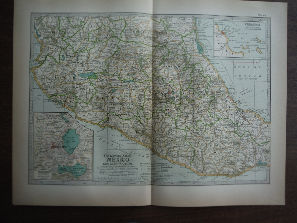 The Century Atlas  Map of Mexico, Central Portion(1897)
