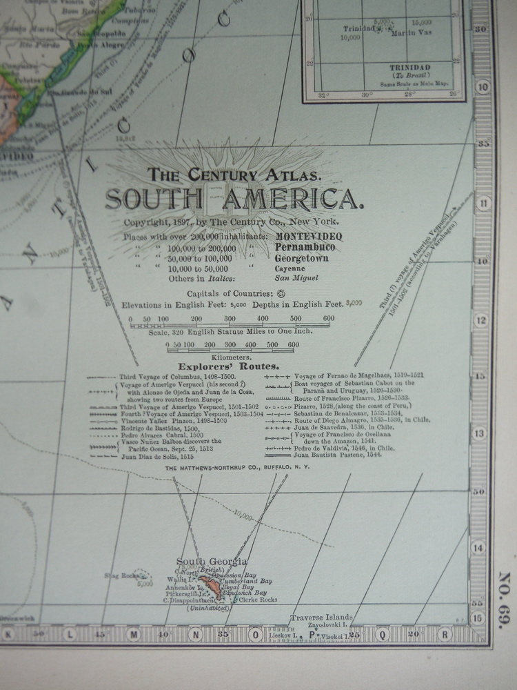 Image 1 of The Century Atlas  Map of  South America (1897)