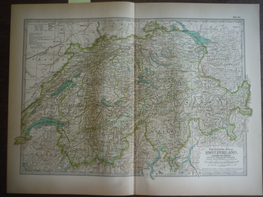 The Century Atlas  Map of Switzerland and Liechtenstein(1897)