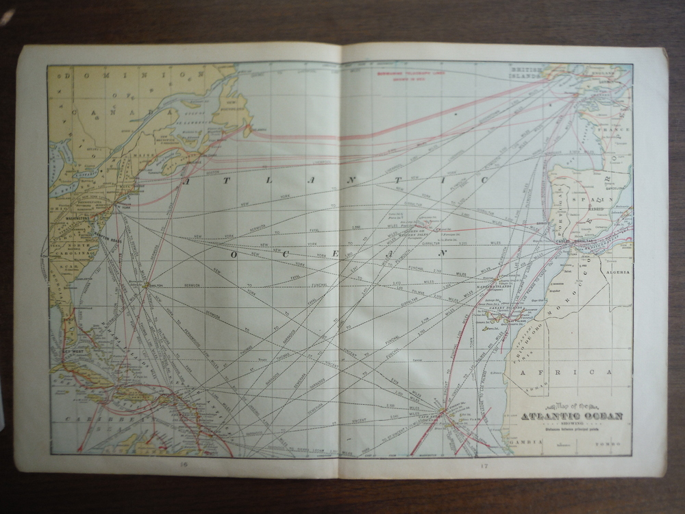Cram's Map of the Atlantic Ocean Showing Distances between Principal Points (190