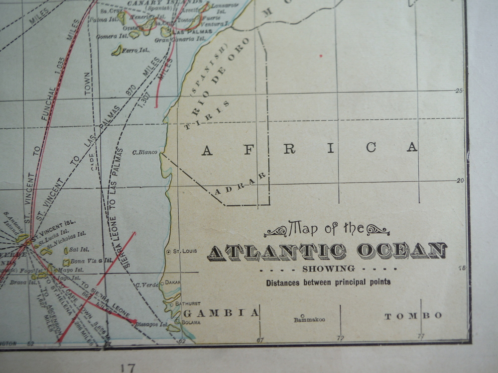 Image 1 of Cram's Map of the Atlantic Ocean Showing Distances between Principal Points (190