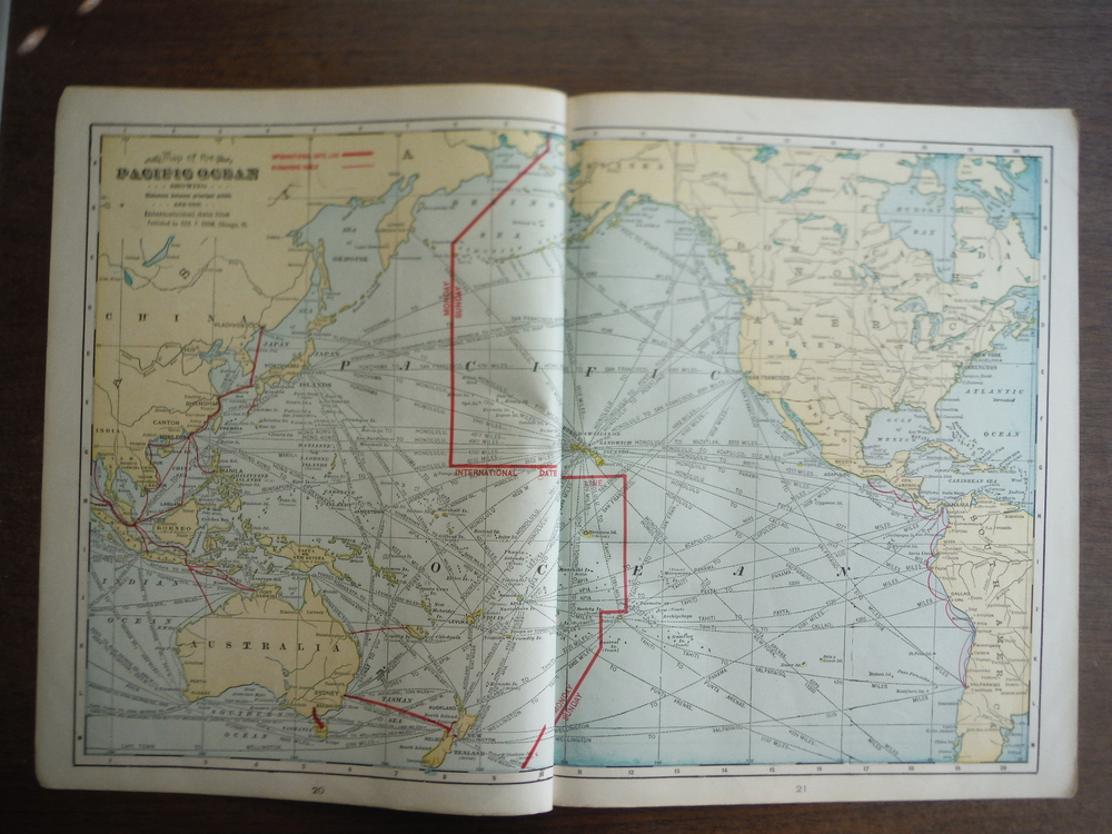 Cram's Map of the Pacific Ocean Showing Distances between Principal Points and t