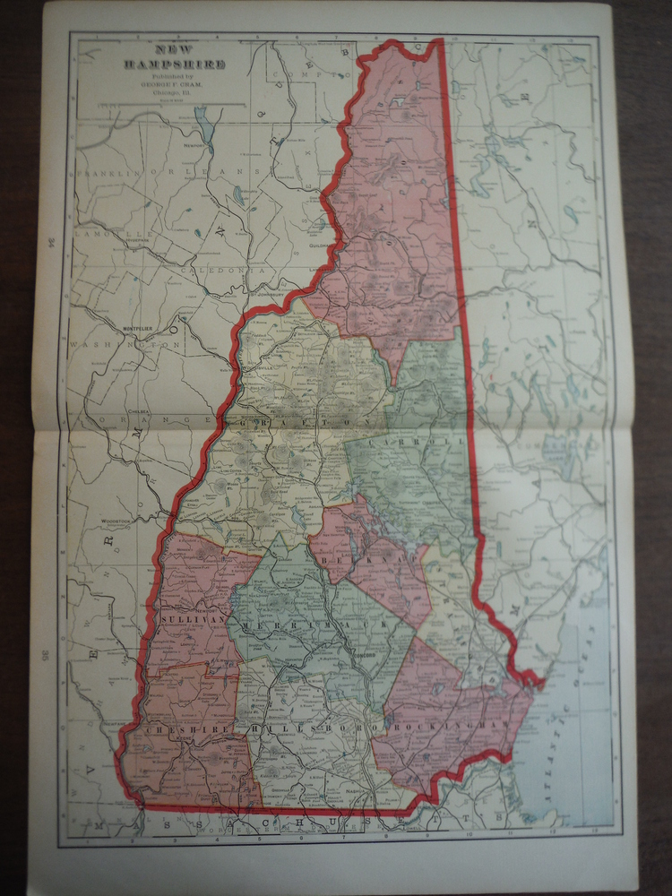 Cram's Map of New Hampshire (1901)