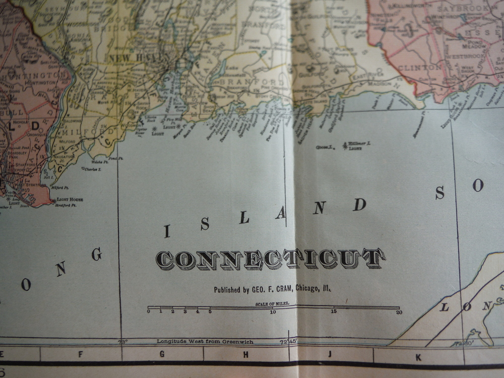 Image 1 of Cram's Map of Connecticut (1901)