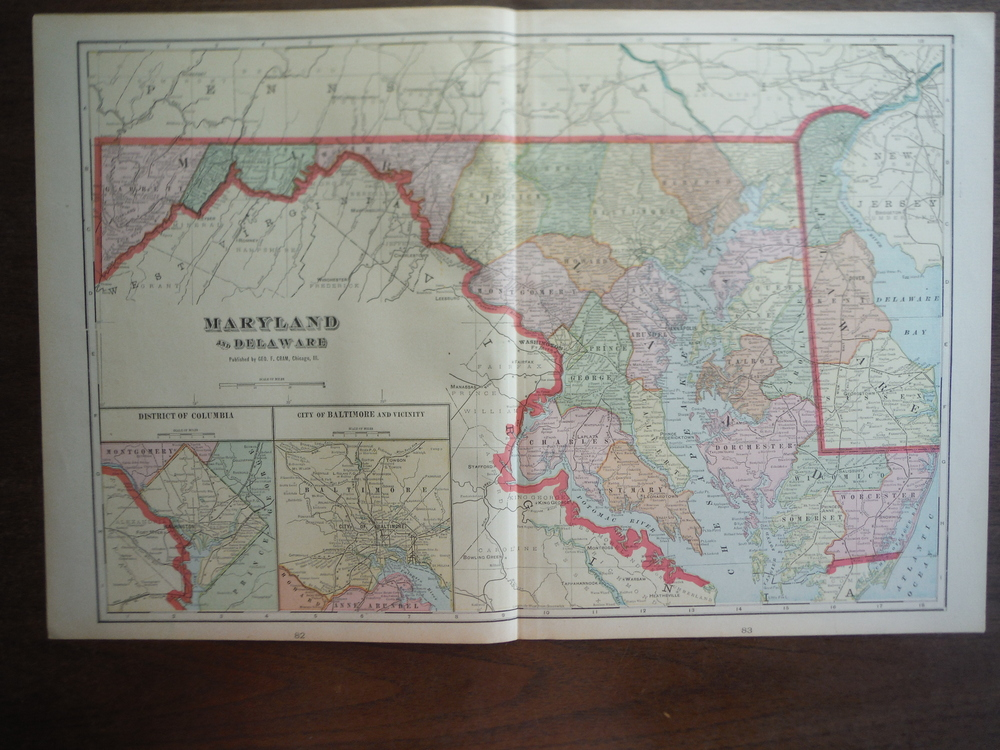 Cram's Map of Maryland and Delaware (1901)