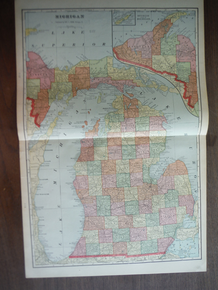 Cram's Map of Michigan (1901)